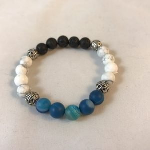 Crown chakra bracelet with blue agate, white howlite, and lavastone