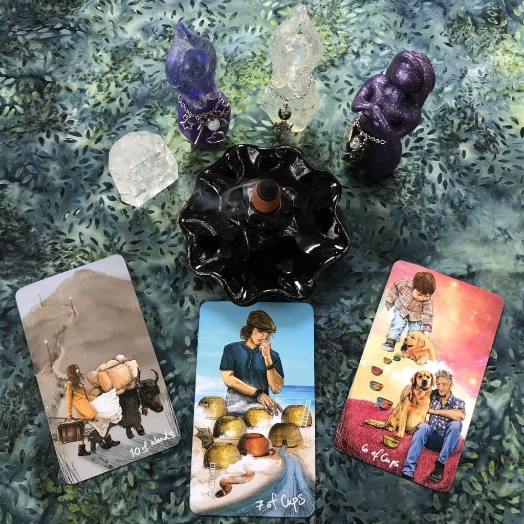 3-card layout using the Light Seer's Tarot: 10 of Wands, 7 of Cups, 6 of Cups