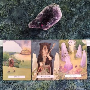 3-card layout from the Witches Wisdom Tarot deck: 1 World, Witch of Earth, and 4 of Earth