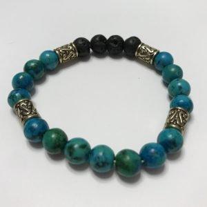 bracelet with black lavastone and turquoise beads