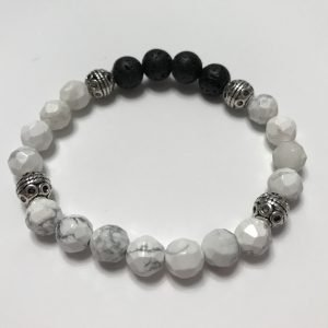 Bracelet made with black lava stone and white howlite beads