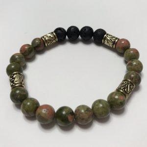 Bracelet with black lavastone and unakite beads