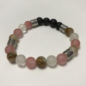 bracelet with black lavastone and cherry quartz beads